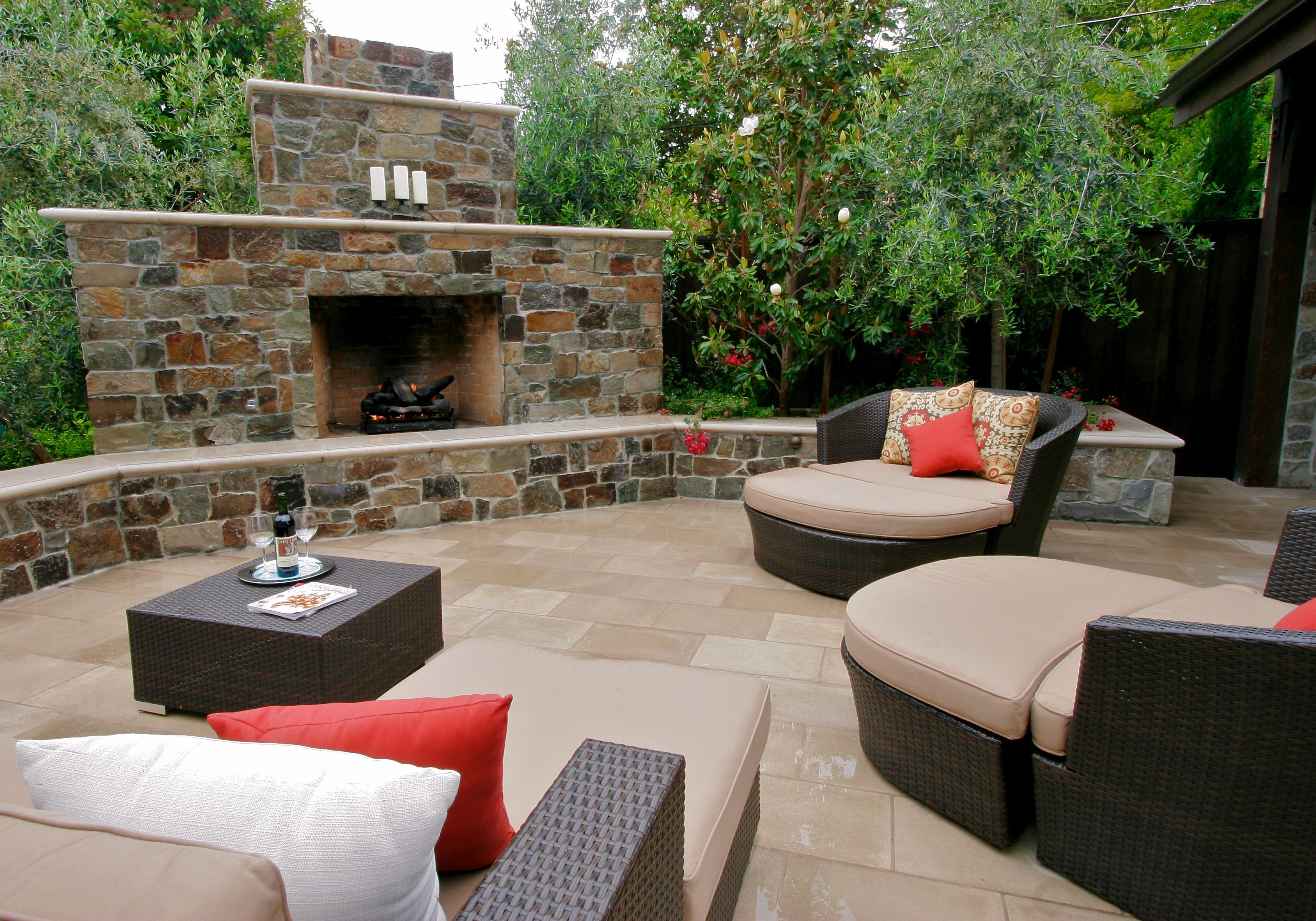 Stone Faced Gas Fireplace | Michael Glassman & Associates